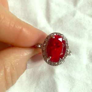 Fashion cocktail ring faux oval ruby w/diamonds